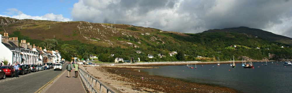 Ullapool, a main centre in the North-West Highlands and ferry port for the Isle of Lewis.